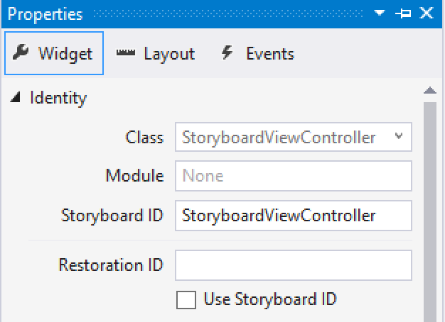 Setting the storyboard ID