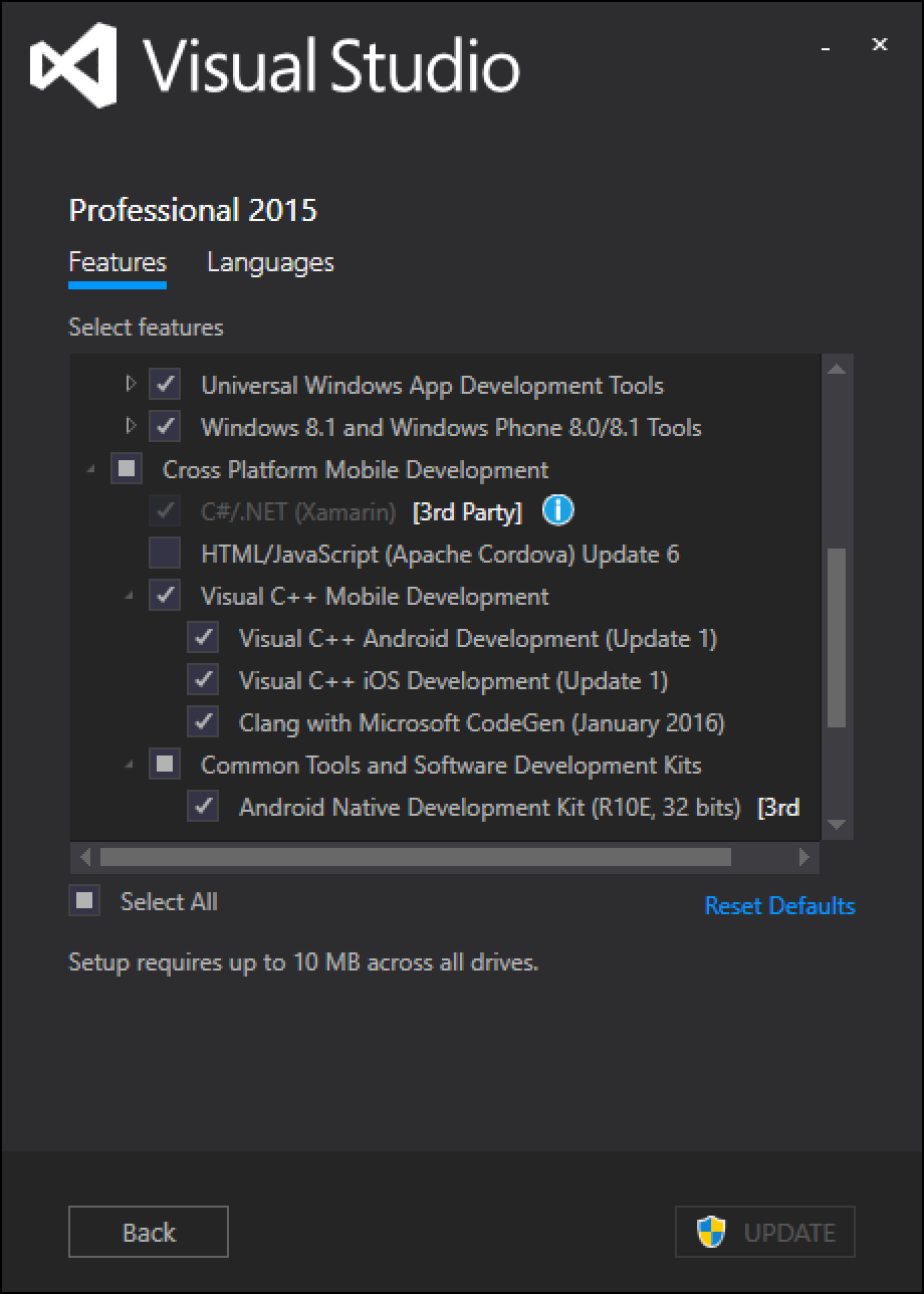 Visual Studio Setup Cross-Platform Mobile C++